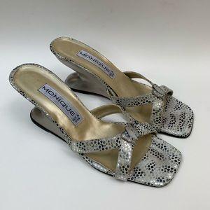 Vintage 90s Funky Metallic Butterfly Wedge Sandal